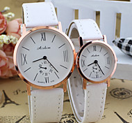 Couple's Circular  Quartz Fashion Belt wrist Watch