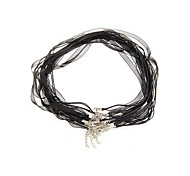 "10PCS Black Organza Wax Ribbon Necklace Cord + Clasp 0.39"" HOT"