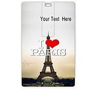 Personalized USB Flash Drive I Love Paris Eiffel Tower Design 64GB Card USB Flash Drive