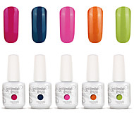 Gelpolish Nail Art Soak Off UV Nail Gel Polish Color Gel Manicure Kit 5 Colors Set S124