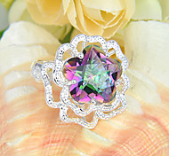Fashion Jewelry Stars Fire Colored Mystic Topaz Gem 925 Silver Statement Rings For Wedding Party Daily Casual 1pc
