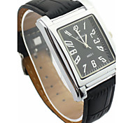 Men's Alloy Round Dial PU Band Japanese  Quartz Analog Casual Wrist Watch