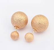 New Arrived For 2015 Fahsion Jewelry Matte Pearl Earrings Gold Plated Double Side Pearl Stud Earring For Women