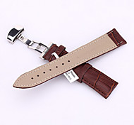 New MEN Stainless Steel Butterfly Buckle Stitched  Crocodile Grain Genuine Leather Watch bands Strap 38mm