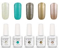 nail art gelpolish impregna fuori uv gel del chiodo del gel di colore smalto kit manicure 5 colori set S136