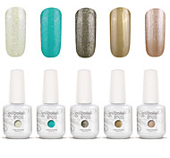 Gelpolish Nail Art Soak Off UV Nail Gel Polish Color Gel Manicure Kit 5 Colors Set S136