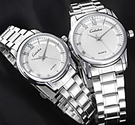 Couple's Simple Fashion Lovers Round dial silver Alloy Band Quartz waterproof Wrist Watch