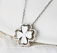 Women's 925 Sterling Silver Clover Pendant Clavicle Necklace (17'',silver)
