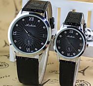 Couple's Round ultrathin Dial Digital PU Band Quartz Fashion Watch