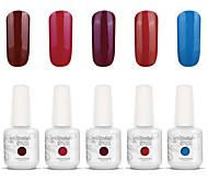 Gelpolish Nail Art Soak Off UV Nail Gel Polish Color Gel Manicure Kit 5 Colors Set S132