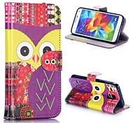 The Eyes of An Owl Pattern Wallet Style Magnetic Flip Stand TPU + PU Leather Case for Samsung Galaxy S5 I9600 G900