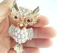 Women Accessories Gold-tone Clear Rhinestone Crystal Owl Brooch Art Deco Crystal Brooch