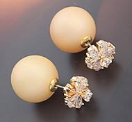Latest Design Gold Flower Shaped Zircon Crystal Pearl Earring Double Sided Pearl Earring Cheap Pearl Earring For Women