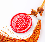 China Red Porcelain Peace Clasp Pendant