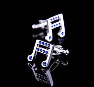 Toonykelly® Fashion Silver Blue Music Crystal Rhinestone Phonetic Symbol Shirt Cufflink(1 Pair)