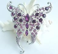 Women Accessories Silver-tone Purple Rhinestone Crystal Butterfly Brooch Art Deco Crystal Brooch