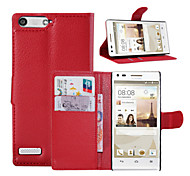 For Huawei Case Wallet / Card Holder / with Stand / Flip Case Full Body Case Solid Color Hard PU Leather Huawei G6