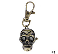High Quality Retro Style Bronze Vivid Skull Necklace Pendant Chain Clock Pocket Watch  Key Ring Watch For Men Women