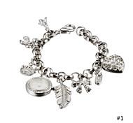 Newest Fashion Luxury Leisure Heart Bracelet Watch Women Ladies Quartz Rhinestone Wristwatch High Quality