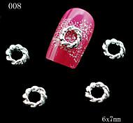 008 10pcs/lot New Sexy Ladies Silver Metal Round Shape Nail Alloy Rhinestone Nail Sticker for DIY Nail Jewelry