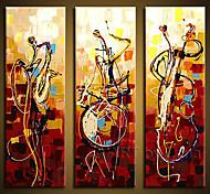 parede arte abstrac instrumentos decoração da casa de jogo pintados à mão pintura a óleo na lona 3pcs / set sem moldura
