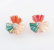 New Design For 2015 Free Shipping Multicolor Flower Shaped Crystal Resin Earrings For Women