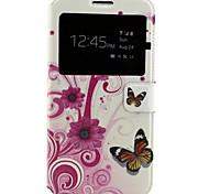 papillons motif cuir PU étui de téléphone portable pour Samsung Galaxy j7