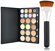 Pro Party 20 Colors Contour Face Cream Makeup Concealer Palette + Powder Brush
