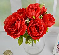 Romantic White Pink Green Red 6 Heads Silk Peony Bouquet