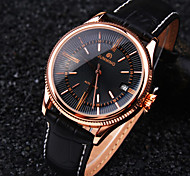 Men's New Round Rome Nailed Dial Genuine Leather Band Calendar Waterproof Fashion Mechanical Watch  (Assorted Colors)