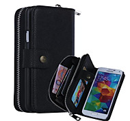 New Arrival Zipper Wallet Pattern Genuine Leather Wallet Cases with Cards Slots for Samsung  Galaxy S5 I9600