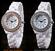 Female Models Double Ring Diamond Waterproof Ceramic Disc with Analog Quartz Movement Watch Wild (Assorted Colors)