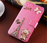 New Fashion 3D Flower Bling Diamond Flip Cover PU Leather Case Holster For Samsung Galaxy S6 edge  (Assorted Color)