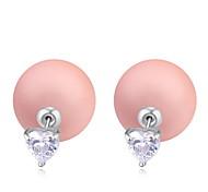 Hot Sale 2015 Heart Shaped Zircon Crystal Pearl Earring Double Sided Pearl Earring Cheap Pearl Earring For Women