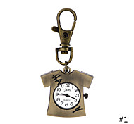 Pocket Watch Cute T-shirt Pendant Necklace Quartz With Iron Chains Antique Bronze Key Ring Watch For Men Women Gift