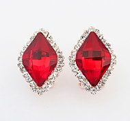 New Design For 2015 Free Shipping Multicolor Square Shaped Crystal Earrings For Women
