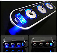 nouveau chargeur de 1 port USB de marque&3 voies chargeur de voiture allume-cigare adaptateur séparateur