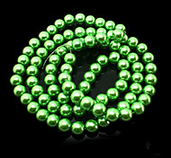 Beadia 2 Str(approx 180pcs) 10mm Round Glass Beads Green Color Imitation Pearl Beads DIY Spacer Loose Beads