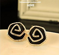 Stars Lovers Trend Classic Black Roses Stud Earrings