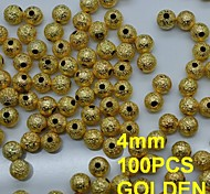 N136 100pcs/lot Golden 4mm Metal Rhinestones Nail Art Round Shape with Hole in Rhinestone & Decoration
