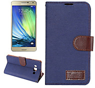Luxury Denim PU Leather  Card Holder Wallet Flip Phone Holster Samsung Galaxy A7(Assorted Color)