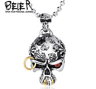 Top rated Store Cool 316L Stainless Steel Jewelry Super Cool CZ Eye Pirate Skull Necklace Pendant