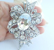 Women Accessories Wedding Silver-tone Clear Rhinestone Crystal Flower Bridal Brooch Wedding Deco Crystal Brooch Bouquet