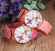 Lady's Butterfly Dial Flower PU Strap Slim Case Quartz Wristwatch