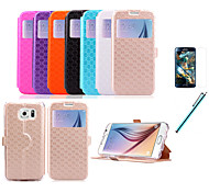 PU material cell phone protection case with Stereoscopic rhombus pattern  windows Card Slots For Samsung galaxy S6