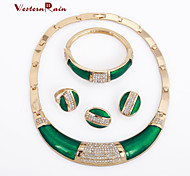 WesternRain 2015 New Hot 18k Gold crystal Ring Bracelet Earrings Necklace Bridal Jewelry Sets Wedding Jewelry Set