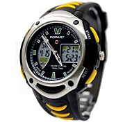 Men's Fashion Plastic Band Black With Yellow Digital Watch