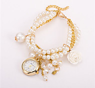 Pearl Wrist Watch With Pearl and Rose Charms(Black/White/Red/Blue/Coffee)(1Pc) Cool Watches Unique Watches
