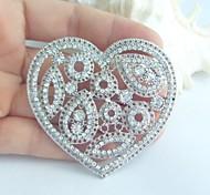 Wedding Accessories Silver-tone Clear Rhinestone Crystal Love Heart Brooch