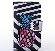 Black and White Pineapple Pattern PU Leather Full Body Case with Stand for Multiple Samsung Galaxy S5Mini/S4Mini/S3Mini